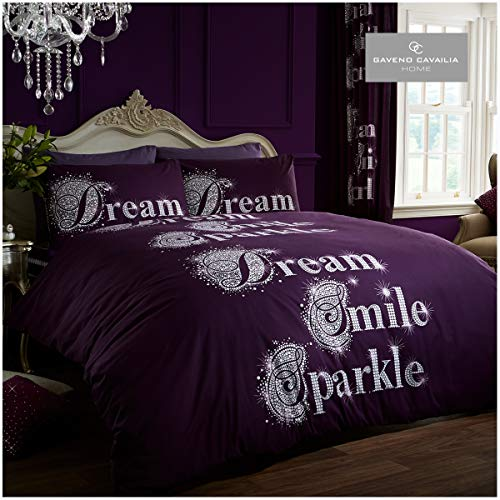 Gaveno Cavailia Poly Cotton Modern Printed Sparkle Set with Duvet Cover and Pillow Case Aubergine Double, Polyester