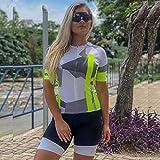Conjunto de ropa de ciclismo de mujer Jumpsuit Uniforme Ropa de verano Conjunto de manga corta Traje de bicicleta con gel Triatlon (Color : 3280, Size : XS)