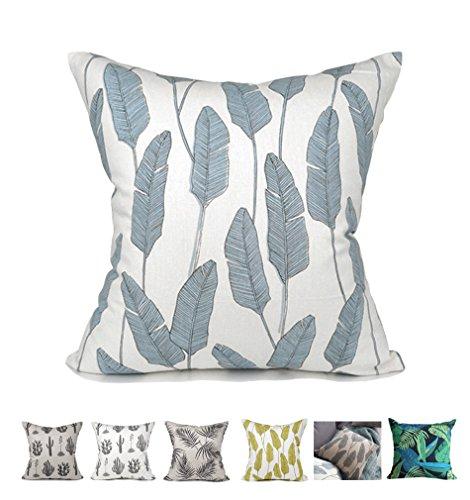 Kdays Oreiller couverture oreiller lin cas concepteur fait main oreillers décoratifs pour canapé 20 x 20 pouces Bleu botanique
