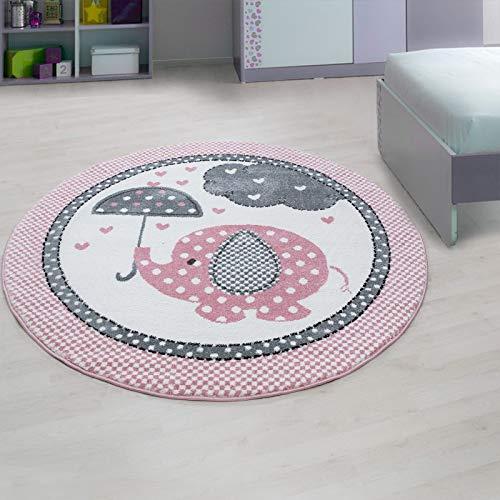 Carpet 1001 Kinderzimmer Teppich mit Motiven Elefant Rosa - 160x160 cm Rund