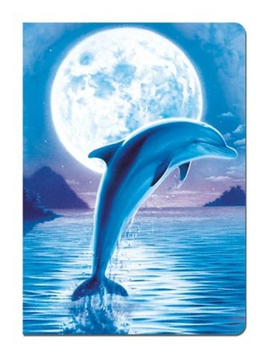 Tree-Free Greetings Journal, 160 Ruled Pages, Recycled, 5.5 x 7.5 Inches, Dolphin Moon, Multi Color (72086)