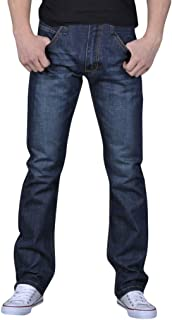 Men's Business Jeans   Mens Classic Straight Regular Fit Freedom Flat Front Denim Pants   Causal Wash Trousers