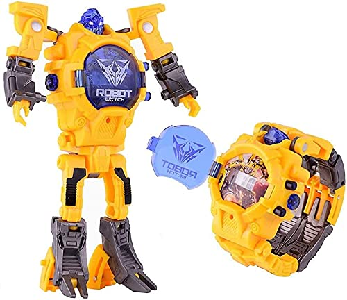 siyushop Smart Robot Toys Watch Kids 2 In 1 Electronic Transformers Toys Watch Deformed Robot Toys Children's Gift 5-12 Years Old Boys And Girls ( Color : Yellow )