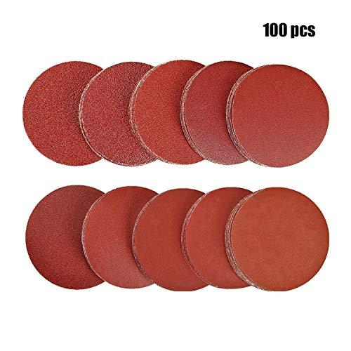 Disco de Lija - WENTS 100 piezas 50 mm Grano Cada Discos de Pulir Velcro Recambios de lijas Discos autoadhesivos de papel 80/100/180/240/600/800/1000/1200/2000/3000