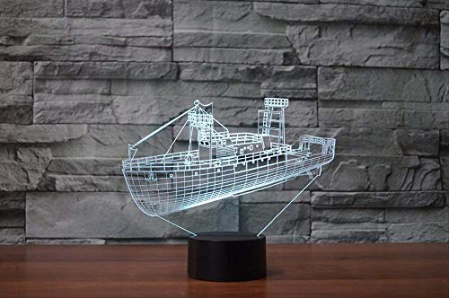 Boys Christmas Gifts Night Light for Kids Christmas Gifts 3D Visual Cool Cargo Ship Ship LED Night Light 7 Colors Changing Blue Boat Table Table Lamp USB Sleep Lighting Gifts Home Decor with Remote c