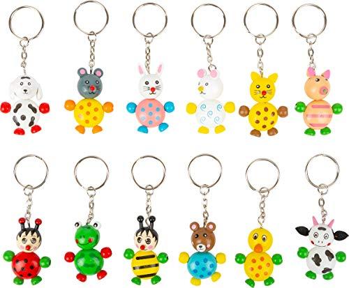 small foot Schlüsselanhänger mit lustigen Tierkindern, 12 Verschiedene Bunte Holzfiguren mit Schlüsselring, Mehrfarbig