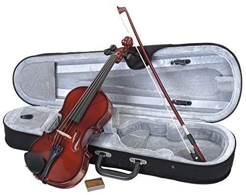 Classic Cantabile Student Violinenset 1/2 (Einsteiger/Schülerinstrument, Geige, Boden & Zargen aus Ahorn, Massive Fichtenholz Decke, Ahorn Steg, Inkl. Etui, Bogen und Kolofonium)