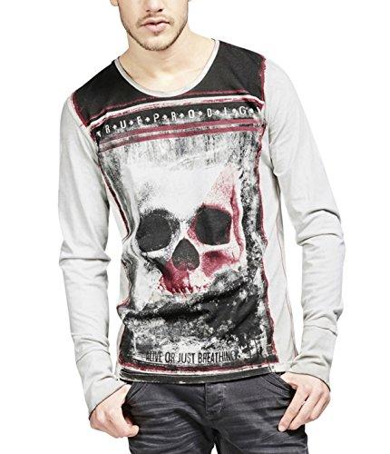 trueprodigy Casual Hombre Marca Camiseta Manga Larga con impresión Estampada Ropa Retro Vintage Rock Vestir Moda Cuello Redondo Manga Larga Slim fit Designer Shirt, Colores:Darkgrey, Tamaño:S
