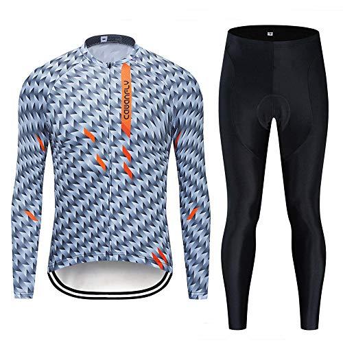 LybMjG Fahrrad Trikot T Shirt, Winter Thermal Fleece Jacke Radtrikot, Langarm Ropa Ciclismo Hombre Fahrrad Tragen Fahrradbekleidung Maillot Ciclism-Silber 01_3XL