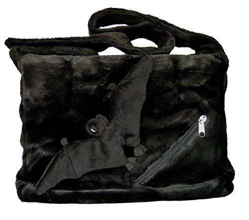 BOBBL Große Plüsch Umhängetasche mit abnehmbarer Fledermaus - schwarz - Gothic, Emo Tasche