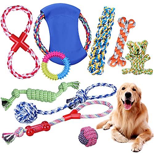 Uoging Juguetes para Perros Cachorros, 10 Piezas Juguetes para Perros Masticar, Cuerda de Algodón Natural Puro, Juguetes Interactivos de Goma