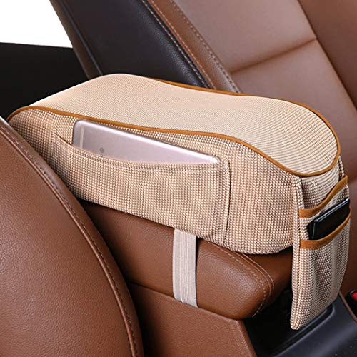EGBANG Car Armrest Cushion, Auto Center Console Armrest Pillow, Memory Foam Car Armrest Console with Phone Holder Storage Pockets Universal Fit for Most Car (Beige)