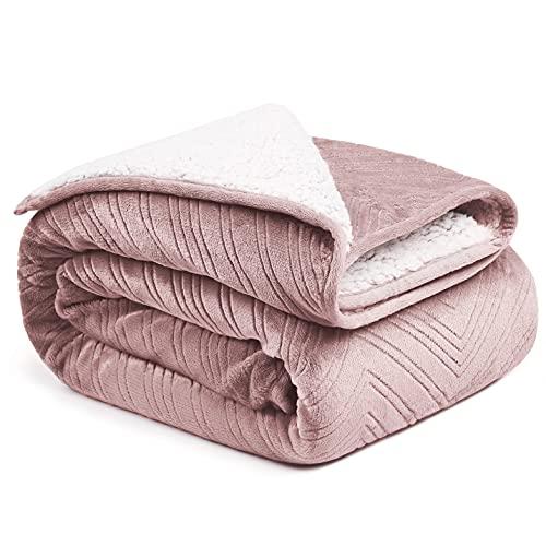 CityComfort Manta Polar de Franela, Mantas para Sofa Cama Extra Suave, Manta Sherpa en Color Rosa y Gris, Regalos para Casa Adultos y Niños (Rosa)