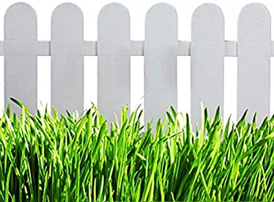 V Protek 4Pack Garden Patio Decorative Plastic Edging Fence White and Flexible Wooden Grain 20''12''