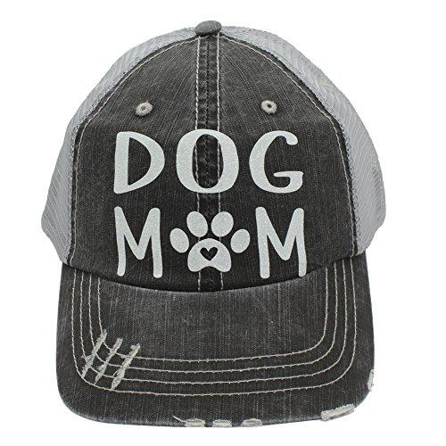 Dog Mom Paw Print Heart Women Trucker Cap Hat White Glitter
