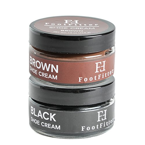 FootFitter Premium Shoe Cream Polish, 2 Pack, Shoe and Boot Shine Cream - Made in the USA! (Black/Brown)