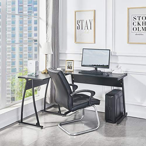 Symylife Escritorio de computadora Escritorio de Oficina Escritorio de Esquina en Forma de L Escritorio Grande para Juegos de PC Mesa de Oficina en casa, Negro