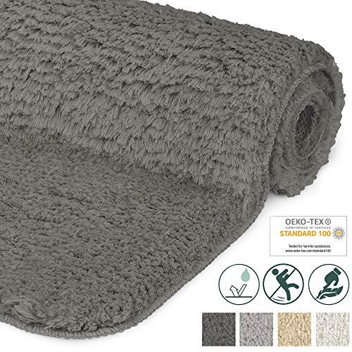 Beautissu Badematte rutschfest BeauMare FL Hochflor Teppich 60x50 cm Anthrazit - WC Badteppich Flauschige Bodenmatte oder Badvorleger für Dusche, Badewanne und Toilette - für Fußbodenheizung geeignet