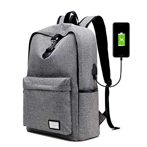Laptop Backpack Computer Rucksack Work Bag with USB Charging Port Lightweight Water Resistant Durable Classic use in College Work Traveling Outoor Unisex