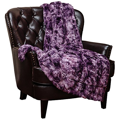 Chanasya Fuzzy Faux Fur Throw Blanket - Light Weight Blanket for Bed Couch and Living Room Suitable for Fall Winter and Spring (60x70 Inches) Aubergine