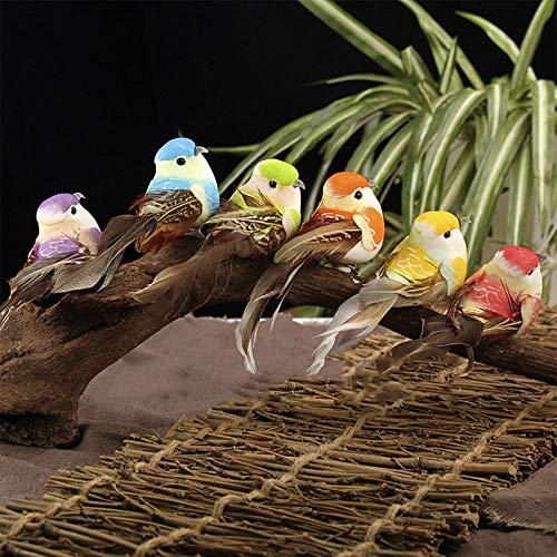 Oulensy 10pcs Dekorative Vogel Modell Künstliche Feder Perched Birds Simulation Foam Tiere Garten Weihnachten Home Decor Miniatur 6pcs