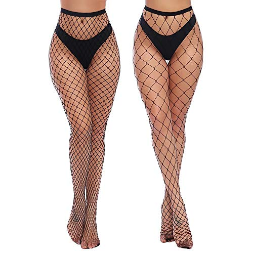 Charmnight Womens High Waist Tights Fishnet Stockings Thigh High Pantyhose 2 Pair(1)