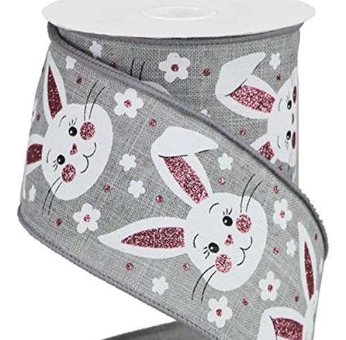 Happy Deals~ Easter Bunny Ribbon Wired 2.5 inch X 10 yd   Bunny Faces W/Glitter ON Royal (Bunny Faces Gray)