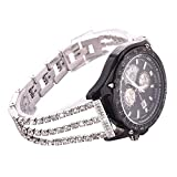 Watch Straps compatible Samsung Galaxy 46mm,S3 Frontier/Classic Women Glitter Stainless Steel Band,22mm Silver Bracelet with Folding clasps Replacement Wristband for Samsung S3
