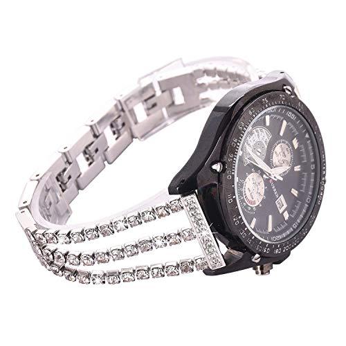 NikoStore Uhrenarmband, kompatibel mit Samsung Galaxy 46 mm, S3 Frontier/Classic Damen, Glitzer-Edelstahl-Band, 22 mm, Silber-Armband mit Faltschließen, Ersatz-Armband für Samsung S3/Moto 360 2.
