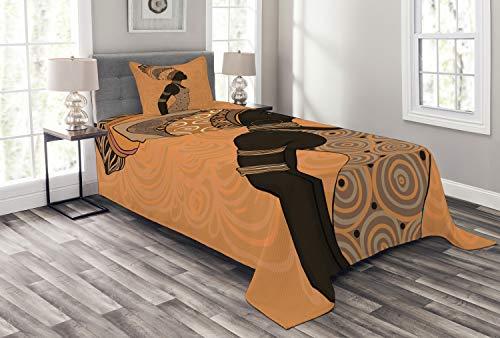 ABAKUHAUS afrikanische Frau Tagesdecke Set, Afrika Lokale Frau, Set mit Kissenbezug Moderne Designs, für Einselbetten 170 x 220 cm, Multicolor