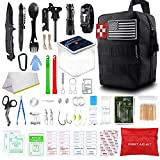 SUPOLOGY Survival Kit, 131Pcs IFAK Tactical Kit Hunting Gear Emergency Supplies with Solar Lantern Fishing Tools Molle Pouch for Adventures Camping Hiking Disaster Hurricane Car, Gifts for Men Dad