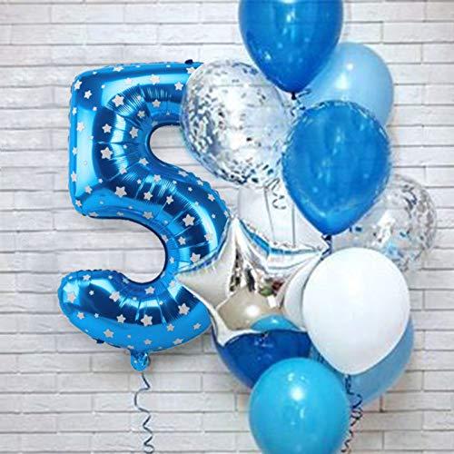 XIAOYAN Globos 12 unids Número Azul Foil Latex Balloons Fiesta de cumpleaños Decoración de la Fiesta Niños Bebé Bebé Príncipe 1 2 3 4 5 6 7 7 8 9 años 1er cumpleaños ( Color : Blue 5th )