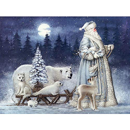 Santa Diamond Painting Christmas Gift 5D DIY Diamond Embroidery Santa Claus Cross Stitch Kits Art Gift for Adults (11.8 x 15.7 inches)