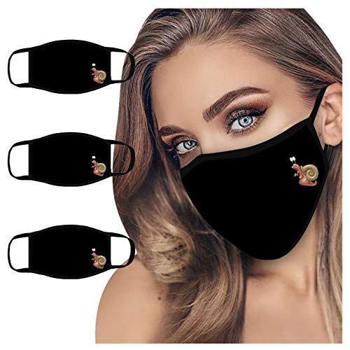 QIUMINGSS Schwarz Einfarbig Mundschutz Nasenschutz Cartoon-Muster-Figur C
