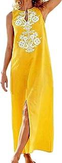 Jofemuho Mujeres sin Mangas Cuello V Split Beach Party Print Classic Long Maxi Dress