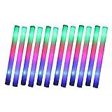 Schramm® 12 Stück LED Partystick 47cm Styropor 3 Funktionen Party Stab Schaumstoff Party Stick...