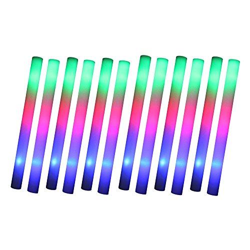 Schramm® Pack de 12 LED Party Stick 47cm en polystyrène 3 Fonctions Party Stick en Mousse Party Stick avec des Piles Qui Brillent comme des Lampes à Incandescence Glow Sticks