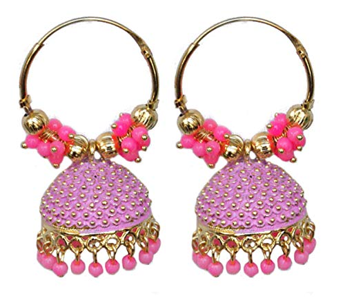 Pahal - Pendientes de aro Jhumka étnicos de Bollywood Jaipur con perlas pintadas de oro grande indio, joyería de fiesta para mujer