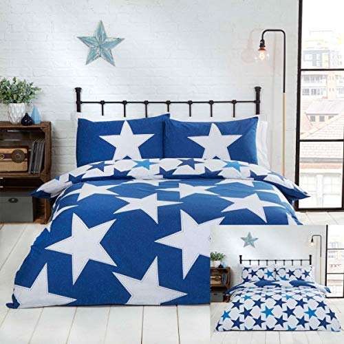 Rapport Stars Reversible Duvet Cover Bed Set, Polycotton Navy, Double