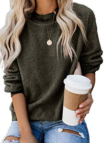 Fashion 2019 Pullover Sweatshirts for Women Fleece Loose Solid Color Crewneck Long Sleeve Winter Tops Outerwear Green Large