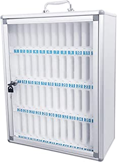 Loghot Aluminum Alloy Pocket Chart Cell Phones Storage Cabinet for Cell Phones,Wall-Mounted with a Locked,Can be Carried by Hand(48 Slots)