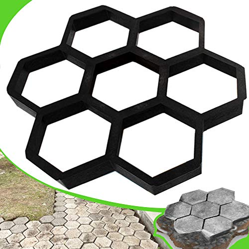 CJGQ 15.7'x15.7'x1.57' Concrete Molds Reusable Walk Maker Stepping Stone Paver Path Maker Lawn Patio Yard Garden DIY Walkway Pavement Paving Moulds (Honeycomb)
