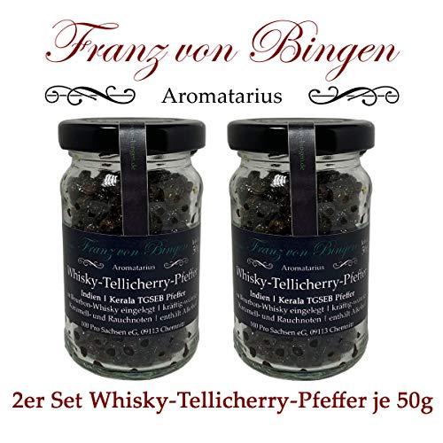Franz von Bingen - 2er Set Whisky-Tellicherry-Pfeffer / Whiskey-Pfeffer / Whisky-Pfeffer (2 x 50g) in Premium-Qualität - Gewürzmanufaktur