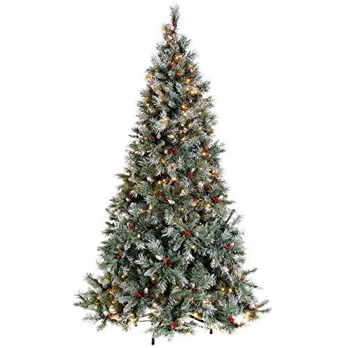 WeRChristmas Pre-Lit Scandinavian Blue Spruce Christmas Tree with 300 Chasing Warm LED Lights, 6 feet/1.8m