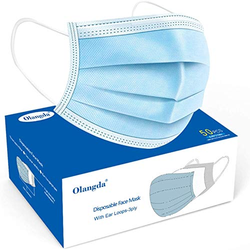 Olangda 50Pcs Disposable Face Masks with Elastic Earloop, 3 Ply Breathable and Comfortable Disposable Face mask