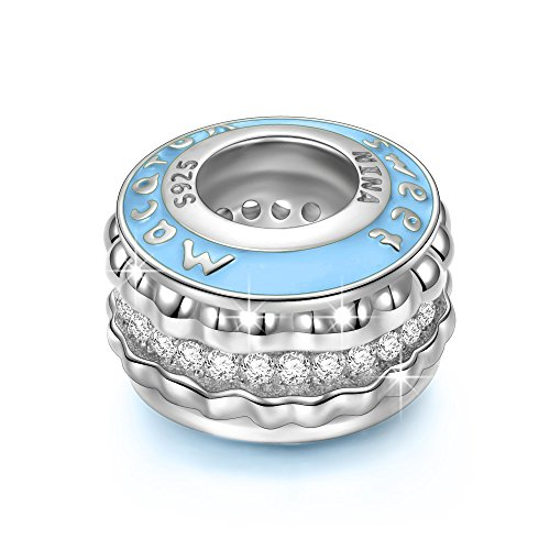 NINAQUEEN Charm fit Pandora Charms Macaron Blue Women's Jewellery Best Gifts with Jewellery Box 925 Sterling Silver Antibacterial Properties