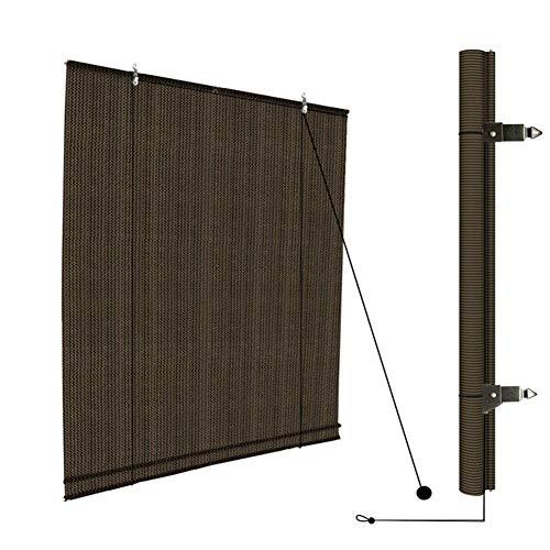 LSM Sonnensegel Außenrollo-Jalousien, Braun Aufrollen Schatten Sonnenschutz-Netzabdeckung für Terrasse Deck Veranda Pergola, Lichtfilterung und 90% UV-Block (Size : 120 × 260cm)