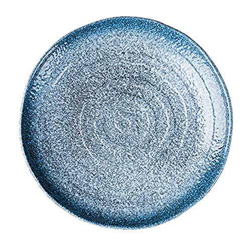 YLMF Plato creativo de cerámica retro azul redondo vajilla para el hogar, no se decolora, resistente a los arañazos, fácil de limpiar, apto para microondas y lavavajillas, 25 cm