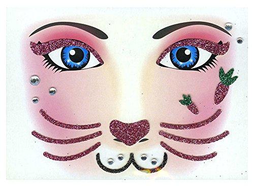 Face Art Decor Glitzer Tattoo Sticker Hase - Wunderschöne Dekoration für Gesicht zu Karneval, Geburtstag, Mottoparty oder Kirmes