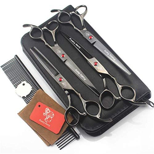 AMITD hondenverzorging schaar 7 inch Professional Pet Trimmer Kit knippen. Doorbossing Shear. Gekromde schaar. Grooming kam en leren tas. Zwart